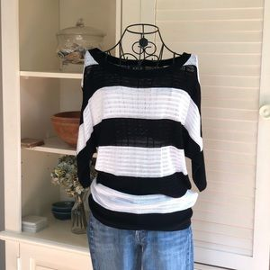 Striped Open Knit Sweater